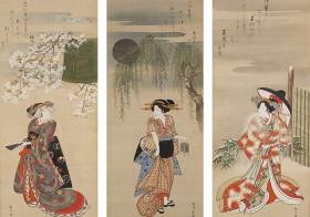 東京都・上野で絵師が絹や紙に筆で直接描いた肉筆浮世絵約130点を展示